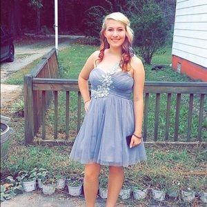 Silver Sparkle One-Shoulder Dress